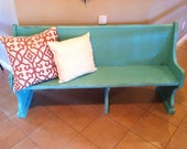 Rustic teal bench/church pew