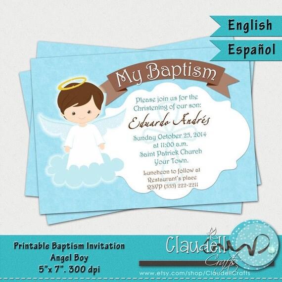 Bautismo Angel chico invitación imprimible / por ClaudellCrafts