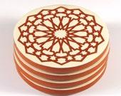 Moroccan Coasters -Terracotta Coasters - Ceramic Coasters- Moroccan Tiles - Set of Four Coasters - Tile Coasters - Round Coasters