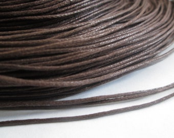 Brown Waxed Cotton Cord, 1 mm Brown Cord, 20 Feet Cord, Great for Bracelet/Necklace