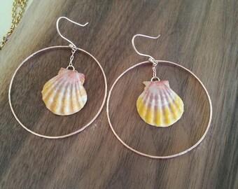 14 Karat Rose Gold Sunrise Shell Earrings