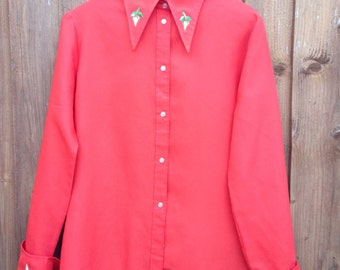 1970s Red Blouse