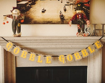 GOBBLE GOBBLE banner for Thanksgiving and Fall Family Portrait Sessions // Kraft & Goldenrod