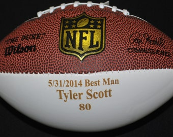 "Engraved ""Mini"" Football for Wedding Party Gift"