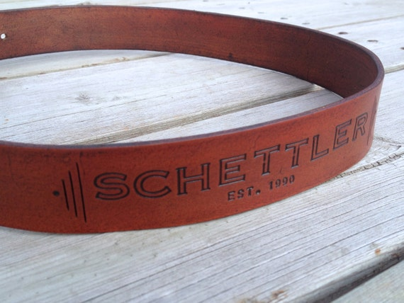 Custom Leather Belt with Personalized Name and Birth Year in Rustic Saddle Brown with Chunky Silver Buckle