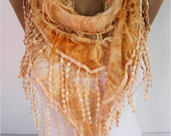 Elegant  Orange  Scarf - Cowl with Lace Edge gift Ideas For Her Women's Scarves-  for her -Fashion accessories-scarves