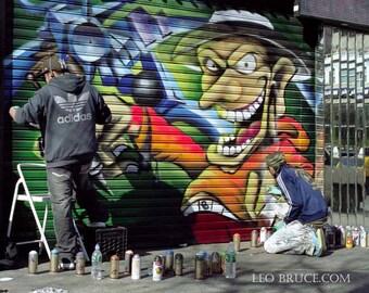 Giant Wall Decal, Graffiti, Fantasy Tattoo Shop, Greenwich Village, New York City USA, February 2008
