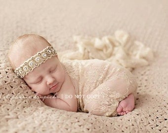 Beige Stretch Lace Wrap Newborn Photography Prop