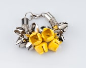 20% OFF!!!  SALE . Statement Corsage Bracelet. Silver and yellow flower bells bracelet