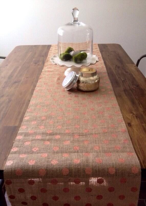 Rose Gold Pink Metallic Polka Dot Burlap Table Runner