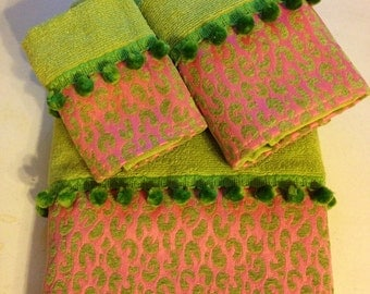 Pink and Lime Green Bath Towel Set (Ready To Ship)