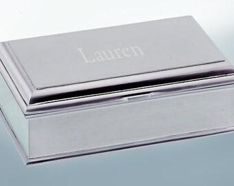 Madison Jewelry Box - Personalized Jewelry Box - Pewter Finish