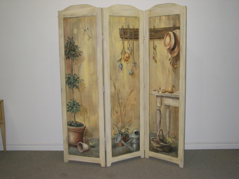Art screen devider room divider hand painted divider for Painted screens room dividers