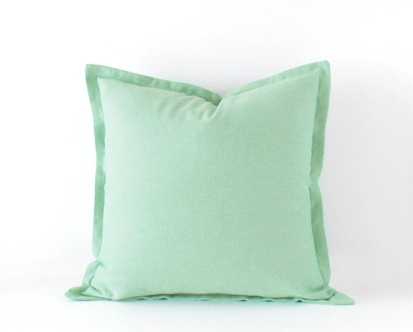 Decorative Pillows With Green : Mint green decorative pillow cover in 16x16 inches 18x18