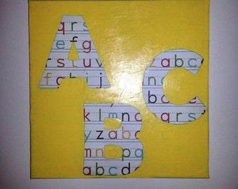 A-B-C Yellow Canvas Art