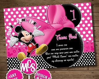 THANK YOU CARD, Minnie Mouse, Invitation, Thank You Insert, Birthday Card, Mickey Mouse, Pink, Polka Dot, My Celebration Shoppe, Black, Bow
