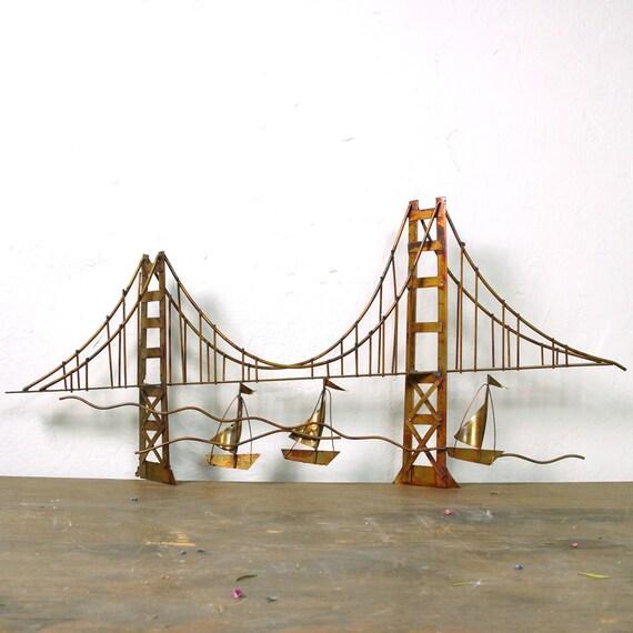 60s golden gate bridge metal sculpture mid century modern. Black Bedroom Furniture Sets. Home Design Ideas