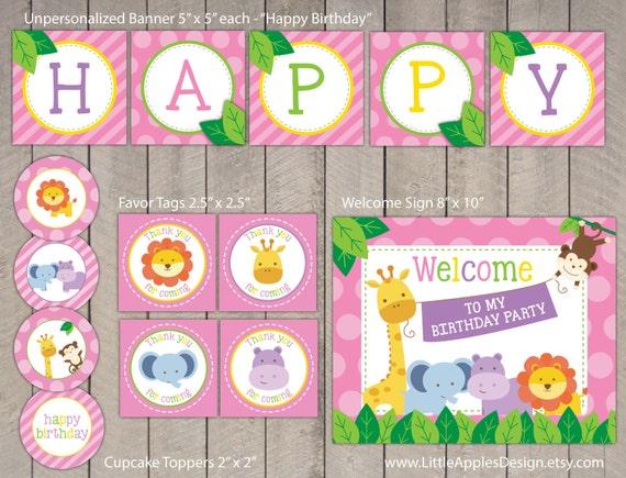 Rosa Safari cumpleaños paquete / paquete Safari cumpleaños / rosa decoración Safari / dulce Safari imprimible