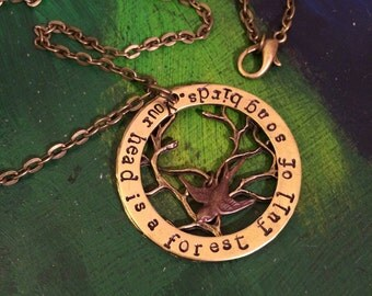 Your head is a living forest full of song birds necklace