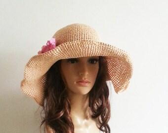 crocheted straw sun hat,floppy sun hat in nature ,big wide brim sun hat