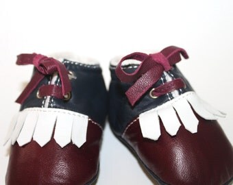 VENTA 18-24 meses zapatillas / zapatos de bebé cordero cuero Vintage serie Bordeaux blanco azul oscuro