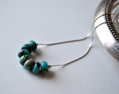 Delicate necklace. Modern minimalist jewelry. Sterling Silver and  gemstone beads. African turquoise roundels on a sterling silver chain.