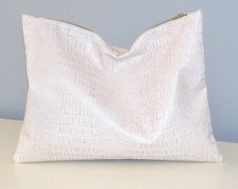 Clutch / Oversize Clutch Bag /  Fold over Clutch Bag / Clutch Purse / Evening Bag /  White Pearl  / Faux Leather Gator