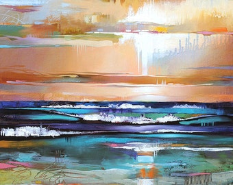 Abstract Landscape Art • Contemporary Landscape and Seascape Painting Reproduction • Waiting for the Flash • Atmospheric Landscape Art