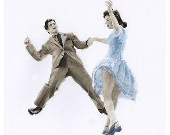 Swing Dancers illustration print