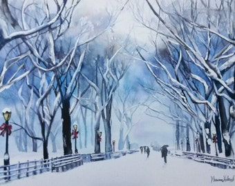 Winter 14x21 fine art original watercolor