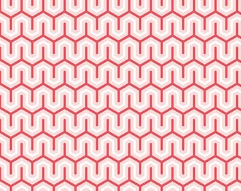 """SALE - Red Zig Zag Modern Fabric """"Simply Sweet"""" by Lori Whitlock - Riley Blake.  100% cotton, c3464 - By the 1/2 Yard"""