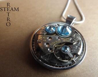 10% off sale16 Swarovski Crystal Steampunk necklace Aquamarine - Steampunk Jewelry by Steamretro - Steampunk Jewellery - Christmas gift