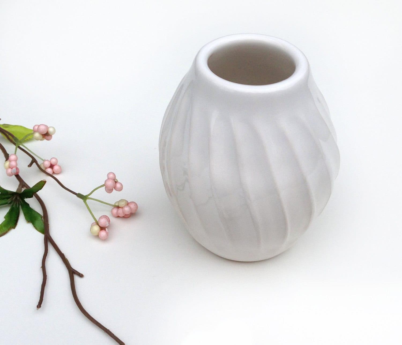 Fluted Glossy White Vase Modern Ceramic Home Decor by