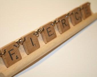 """Scrabble Tile Necklace - """"Fierce"""""""