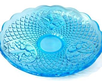 Vintage Blue Glass Dish - Blue Glass Pedestal Dish - Blue Diamond Pattern - Oval Fruit Design Dish