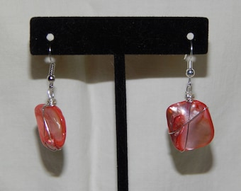 Unique Pink Stone Earrings Wrapped in Silver Wire