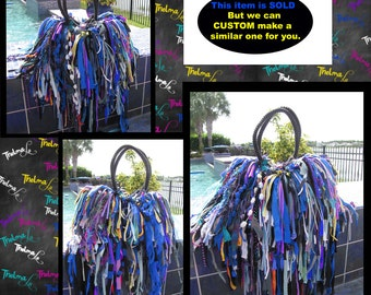 Fringe Rag Handbag,Explosion of Color, Ultra fringe,Upcycled,Recycled,Unique ,Fun,Funky,One of a kind ,Custom Made