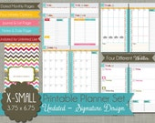 """Undated Printable Planner - PolkaDotPosie Signature Design  - Sized X-Small Personal Portable Compact 3.75"""" x 6.75"""" PDF"""