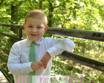 Kelly Green Houndstooth Necktie Infant, Child, Youth