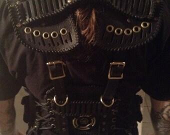 Post Apocalyptic Black Leather Tactical Vest (L-3XL)