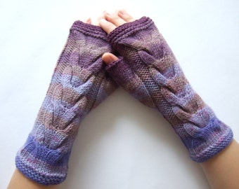 Multicolor ( brown, purple, blue ) fingerless gloves, wrist warmers, fingerless mittens. Handmade, knitted of pure WOOL.