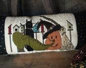 Primitive Witch Hat Pumpkin Black Cat Halloween Cross Stitch ePattern Holiday Decor