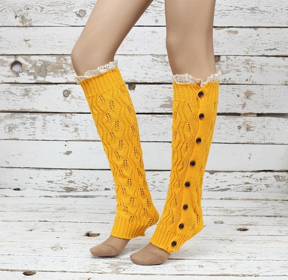 Knitted Leg Warmers Orange Lace Button Up Boot By DayfitFashion