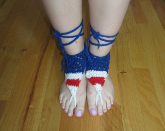 4th July sandals, Knitted barefoots, American flag shoes, beach sandals, patriotic shoes