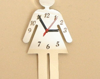 Ladies Toilet Sign Clock Mirror - 2 Sizes Available