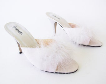 Vintage Fredericks Of Hollywood White Marabou Mules Open Toe Pin Up Bedroom Boudoir Slippers