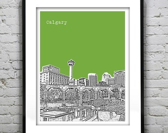 Calgary Alberta Skyline Poster Art Print Olympic Plaza Canada Version 2