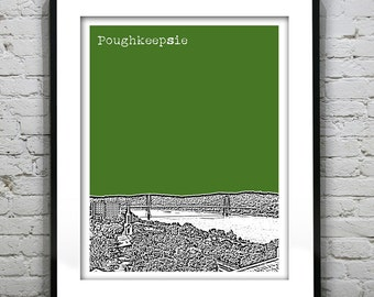 Poughkeepsie New York Poster Print Art NY City Skyline Hudson River Version 2