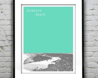 Newport Beach California Skyline Art Print Poster CA Version 2 Overview