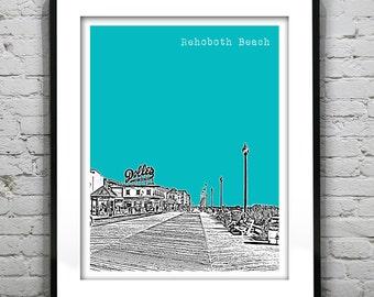 Rehoboth Beach Delaware Poster Art Print Skyline Boardwalk